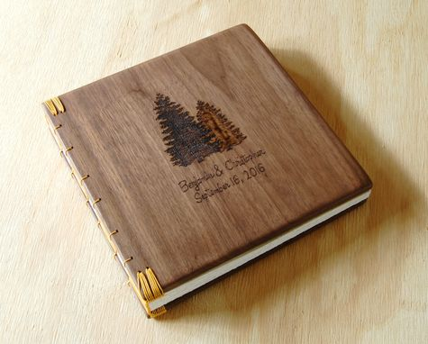 Custom Made Engraved Wood Wedding Or Vacation Home Guest Book
