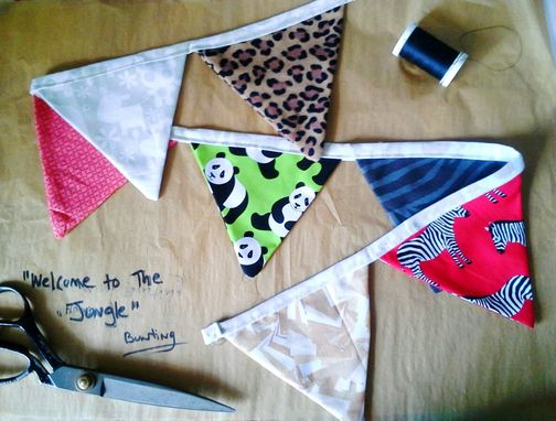 Custom Made Jungle Fabric Bunting. Nursery Decor, Safari Pennant Flag Banner.