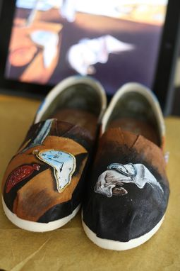 Custom Made Custom Painted Salvador Dali Persistence Of Memory Inspired Toms Shoes