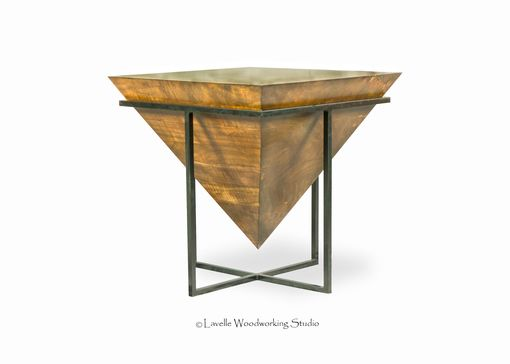 Custom Made Mara Table Inverted Wood Pyramid With Metal Base