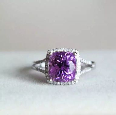 Custom Made 4.4 Carat Amethyst Ring In 14k White Gold
