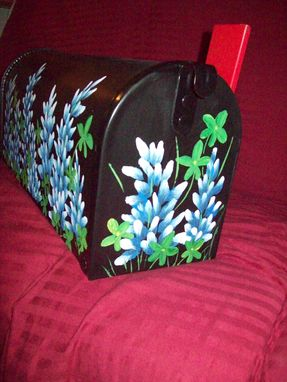 Custom Made Painted Metal Mailbox (Black With Blue Bonnets)