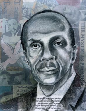 Custom Made Mixed Media Portrait--Howard Thurman, Pastor And Civil Rights Leader