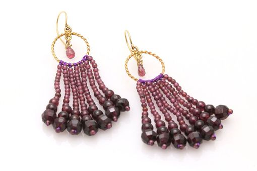 Custom Made Circle Garnet Tassel Earrings With Garnet Briolettes