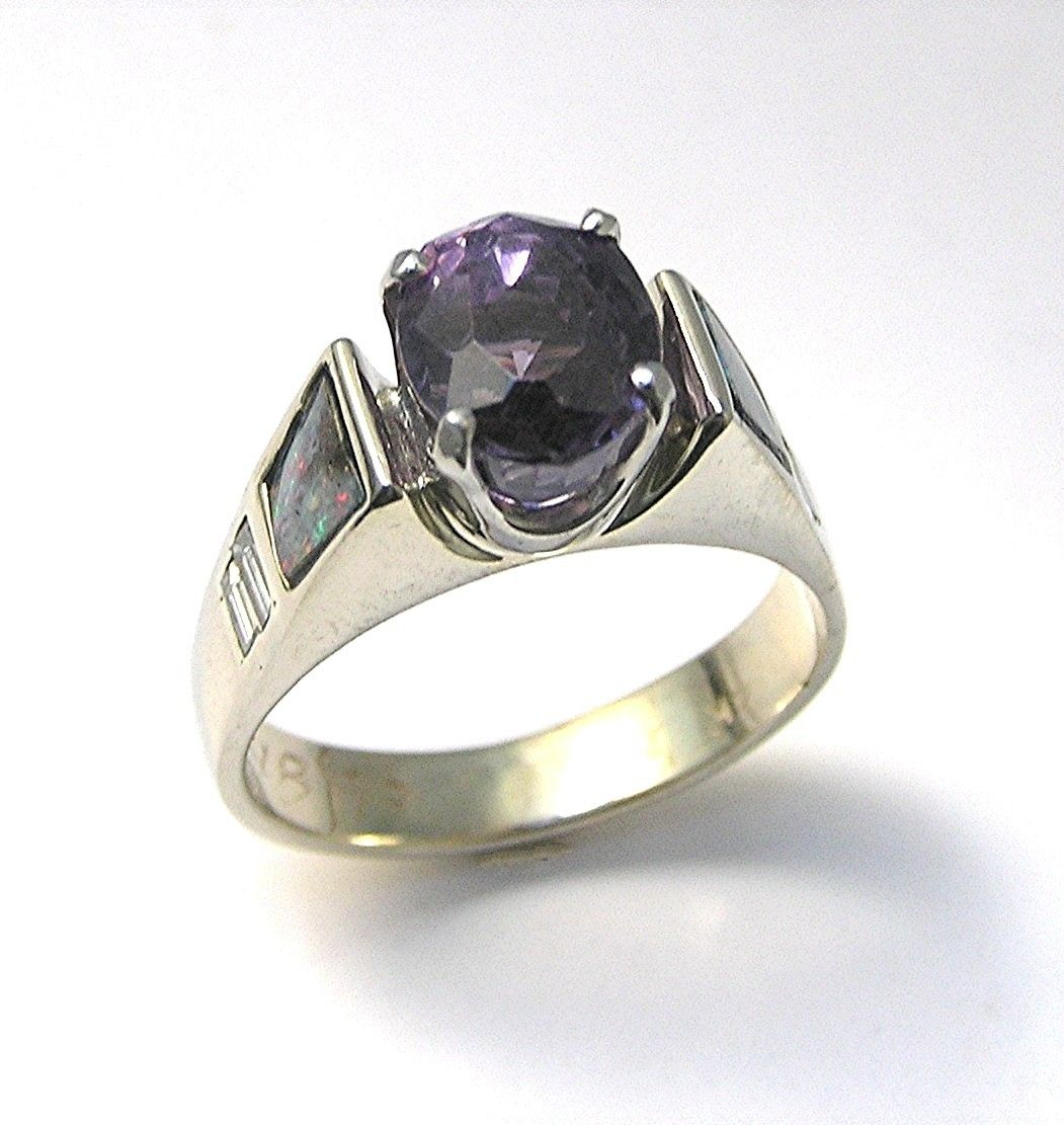 Engagement Ring  Purple Spinel,diamond,black Opal Handmade 14k White Gold