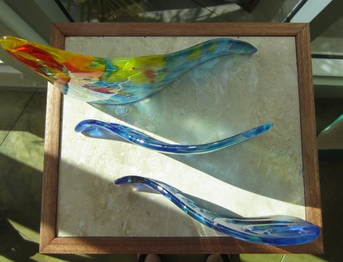 Custom Made Fused Glass Table Sculpture:  Hoe A Mau - I Know You'll Always Be There