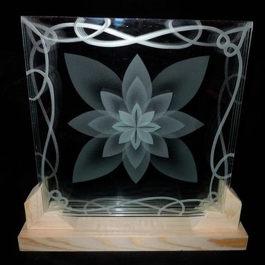 Custom Made Layered Stacked Glass Lotus Flower 3d Etching In Display Stand Or Bracket