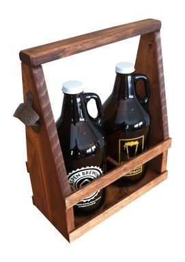 Custom Made Growler Beer Carrier, Handmade, Rustic, Primitive