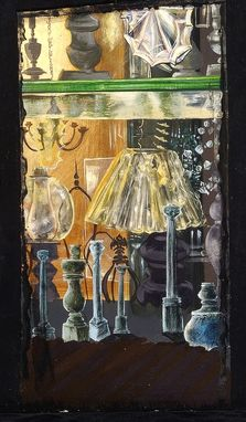 Custom Made Lampshop Art Vintage New York City Shop Chandelier Painting