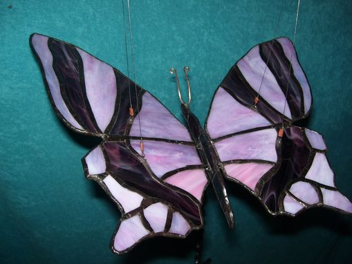 Custom Made Flying Butterfly Mobile In Stained Glass