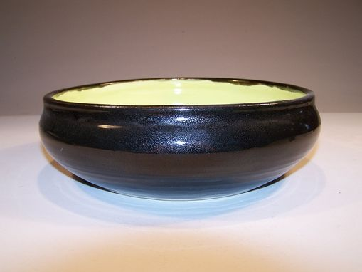Custom Made Bright Green And Black Porcelain Serving Bowl