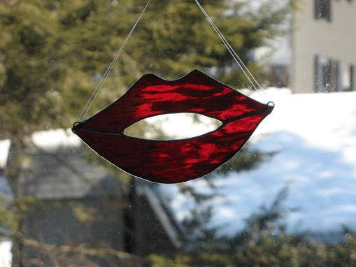 Custom Made Red Lips Stained Glass Light Catcher