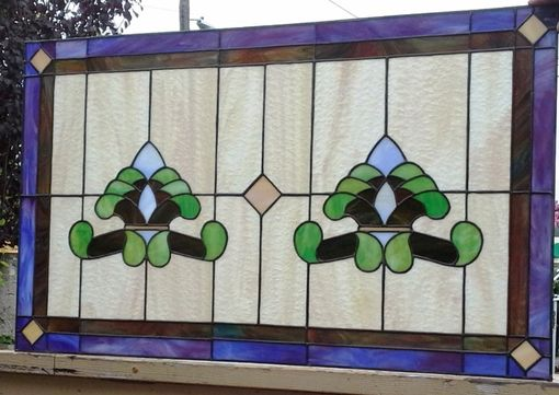 "Custom Made Stained Glass Transom Window - ""Traditional Opals"" (Tw-187)"