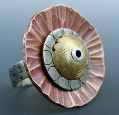 Custom Made Sterling, Brass, And Copper Flower Motif Ringg