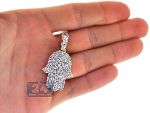 Custom Made Mens Full Diamond Hamsa Hand Pendant 14k Yellow Gold 2.27 Ct