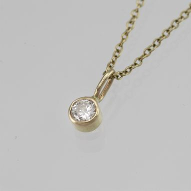 "Custom Made Diamond Drop Necklace In 14ky Gold (16"")"