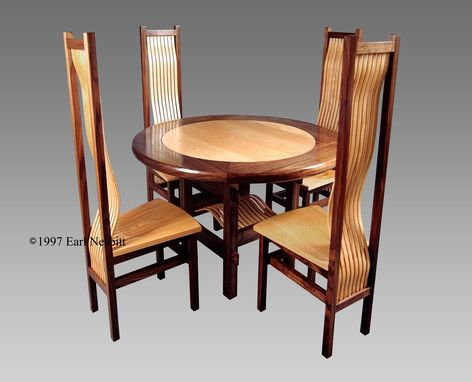Custom Made Round Dining Table With Four Chairs, Ash And Walnut