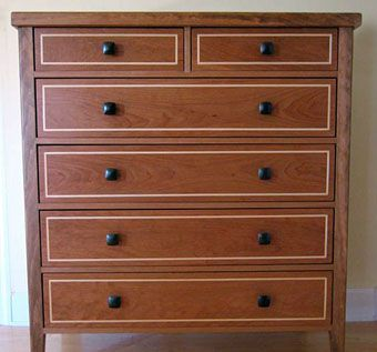 Custom Made Cherry Dresser With Maple Inlays