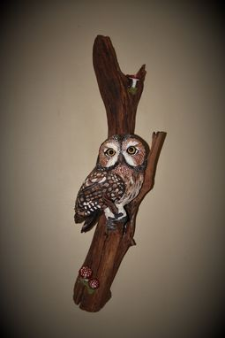 Custom Made Owl On Driftwood Wood Carving