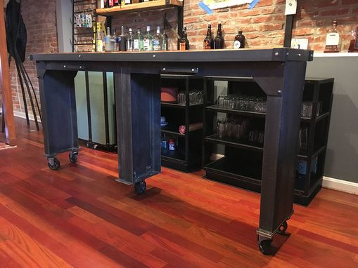 Custom Made Rolling Bar And Shelves