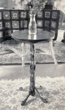 Custom Made Hand Carved Candle Stand Table