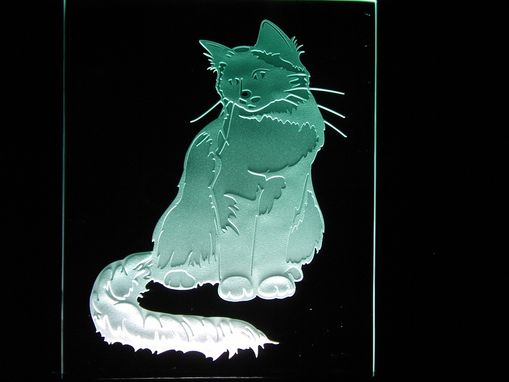 Custom Made Etching Of Our Four Legged Friend A Cat