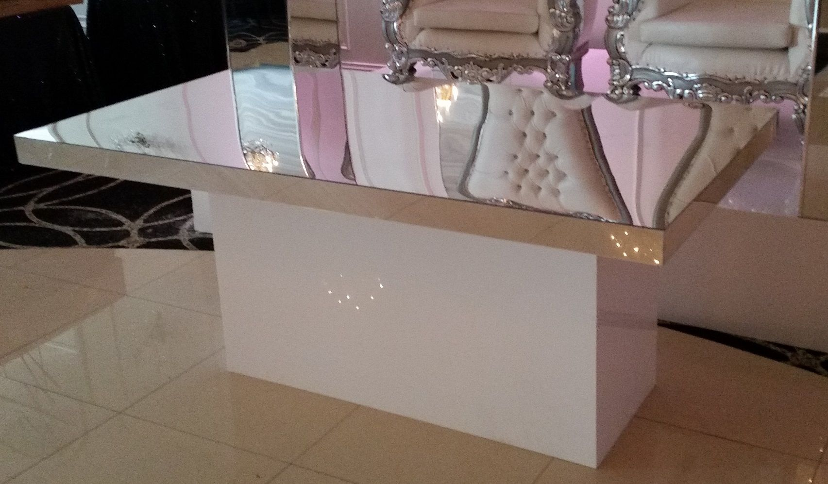 Buy a hand made acrylic bridal table mirror top white for How to make lucite furniture