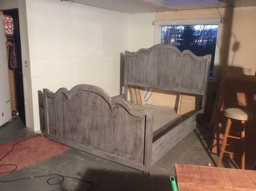 Custom Made Weathered Gray Curvy Rustic Farmhouse Bed