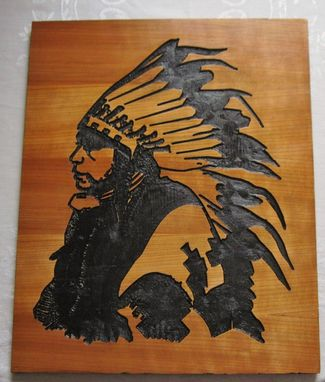 Custom Made Handmade Carved Wood Native American Indian Art - Wall Hanging/Sign