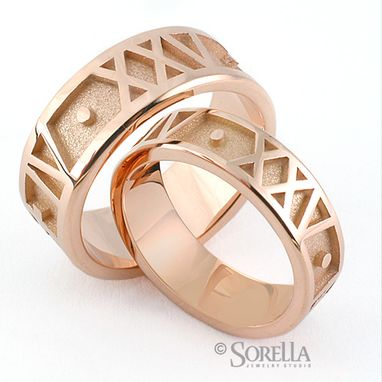 Custom Made Roman Numeral Rings In Rose Gold