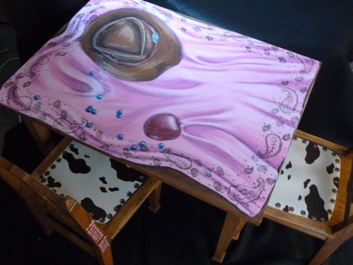 Custom Made Hand Painted Child's Table And Chairs Set