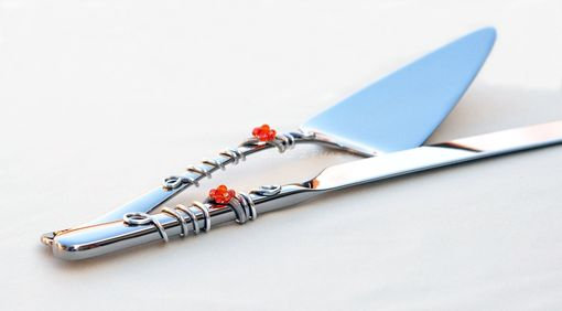 Custom Made Custom Decorated Cake Server And Knife Set In Swirls Of Wire