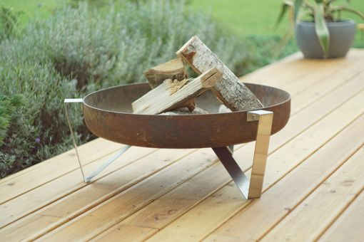 Custom Made Rust & Stainless Steel Modern Outdoor Patio Fire Pit Agila