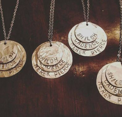 Custom Made Hand Stamped Stacked Name Necklace