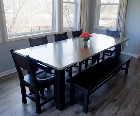 Custom Made Stainless Steel And Ash Table, Chairs, And Bench