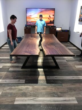 Custom Made Walnut Live Edge Floating Table