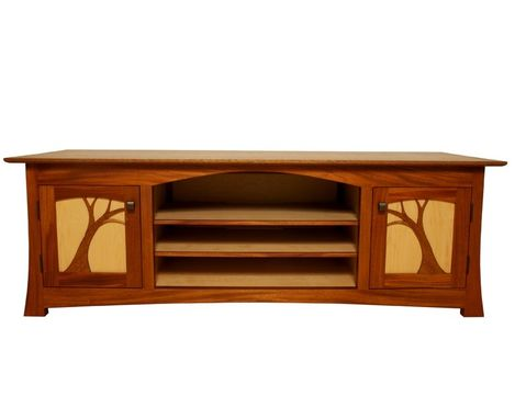Custom Made Recycled Mahogany And Maple Entertainment Cabinet