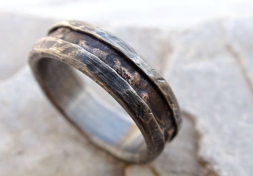 cool mens ring alternative wedding band rugged mens wood grain ring bronze silver - Cool Mens Wedding Rings