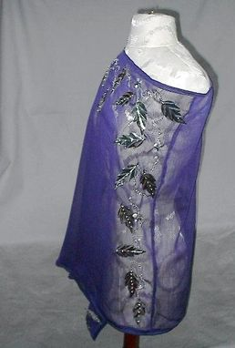 Custom Made Evening Poncho Silver Sequin Embroidered Sheer Amethyst Fashion Apparel Ooak