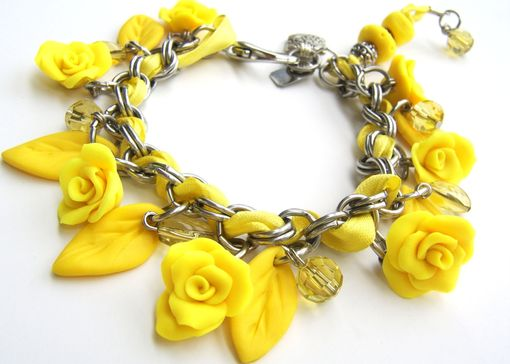 Custom Made Neon - Yellow Stainless Steel And Polymer Clay Charm Bracelet - With Beautiful Assorted Beads