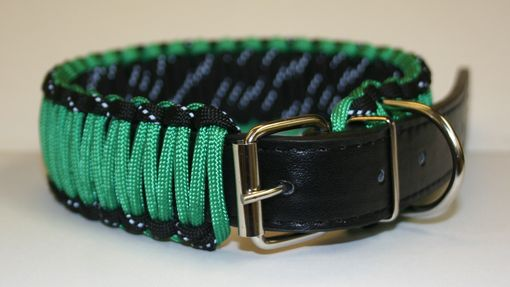 "Custom Made 10""-13"" Kelly Green & Reflective Black Collar"
