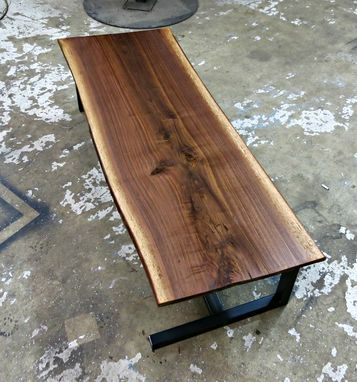 Custom Made Walnut And Steel Contemporary Coffee Table