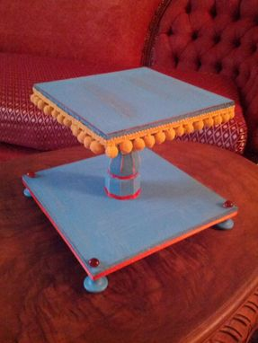 Custom Made Turquoise Painted Custom Cupcake Stand With Pom Pom Edging