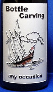 Custom Made Etched & Carved Glass Wine Bottle