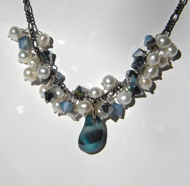 Custom Made Pearls And Crystals Necklace With Turquoise Multicolor Sea Glass