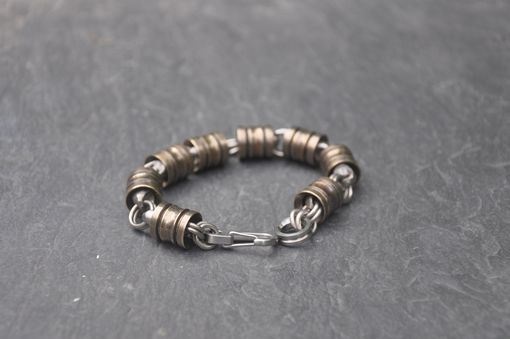 Custom Made Bronze And Titanium Lantern Bead Bracelet