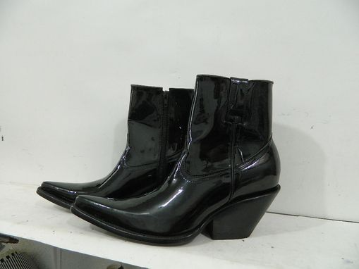 Custom Made Made To Order Patent Leather Ankle Boots With Side Zipper
