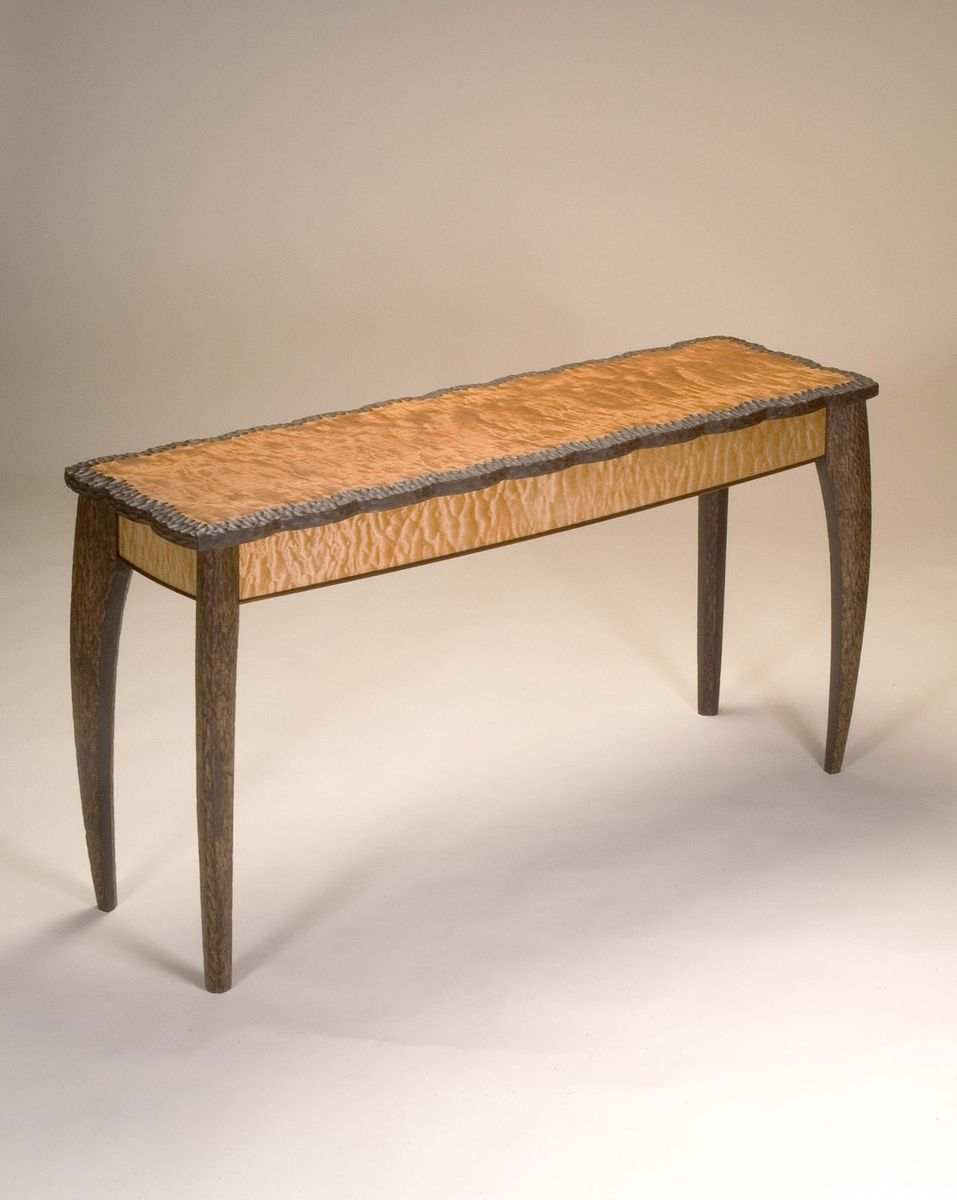 Handmade figured cherry and quilted maple console table by neal custom made figured cherry and quilted maple console table geotapseo Image collections