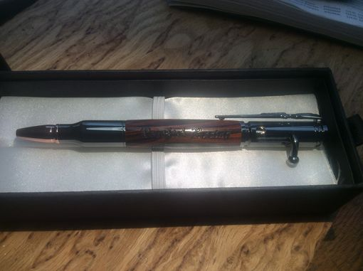 Custom Made Bolt Action Pen In Gun Metal And Cocobolo With Engraving
