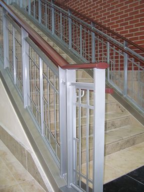 Custom Made Powder Coated Steel Handrailing With Wood Top Cap